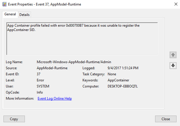 App Container Profile Failed With Error 0x800700B7 Because It Was Unable To Register The AppContainer SID