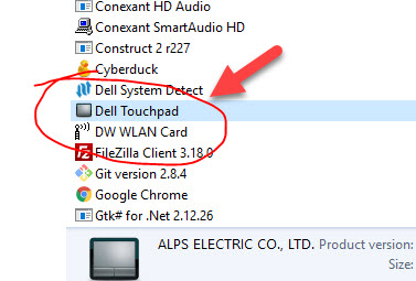 uninstall dell touchpad