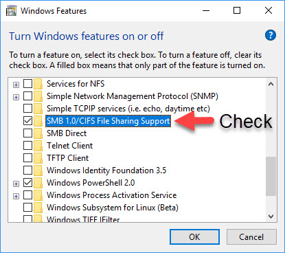 Enable Server Message Block (SMB) protocol version 1