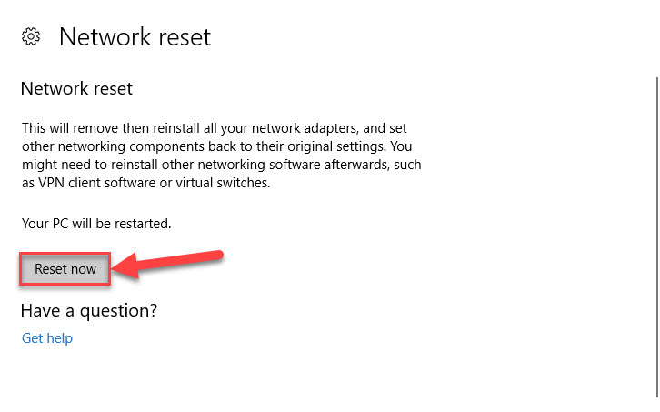 Reset Network settings to default
