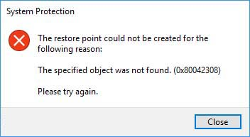 The specified object was not found. (0x80042308)