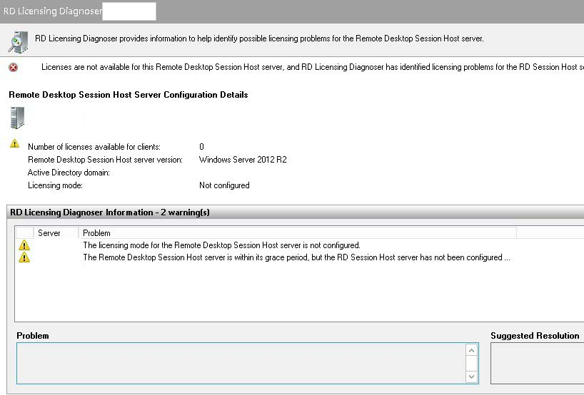 The Licensing mode for the Remote Desktop Session Host is not configured