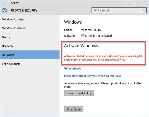 Windows 10 activation error code 0x803f7001