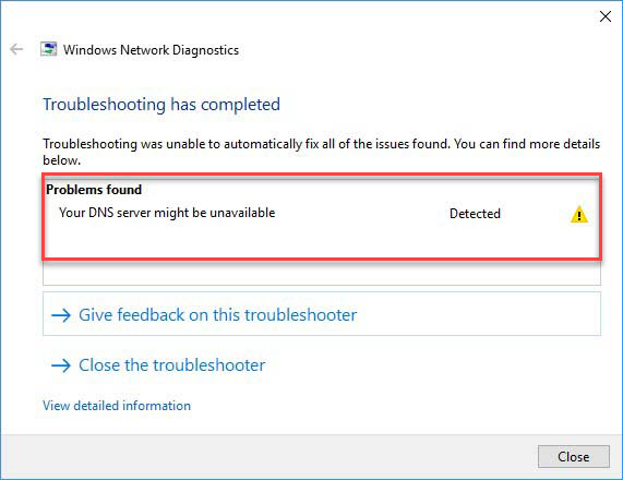 Your DNS Server Might Be Unavailable In Windows 10
