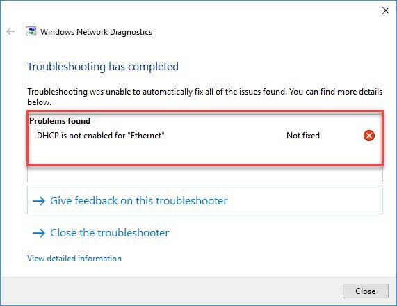 DHCP Is Not Enabled For Ethernet In Windows 10