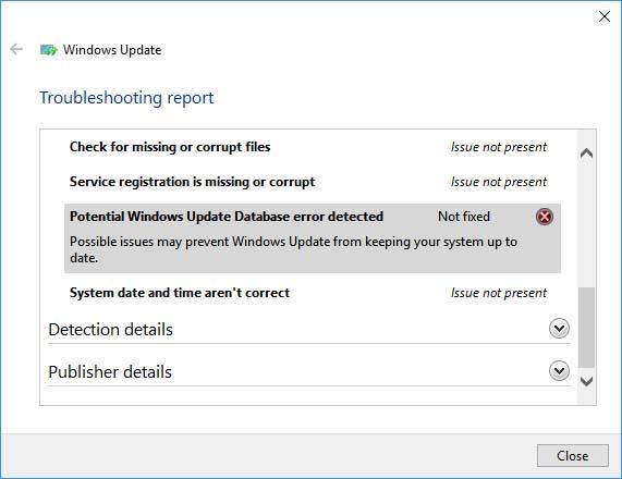 FIX: Potential Windows Update Database Error Detected in Windows 10