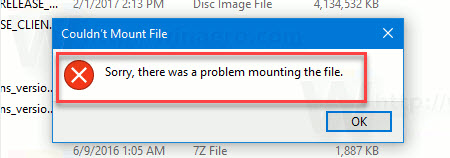 Couldn't Mount File. Sorry, there was a problem mounting the file