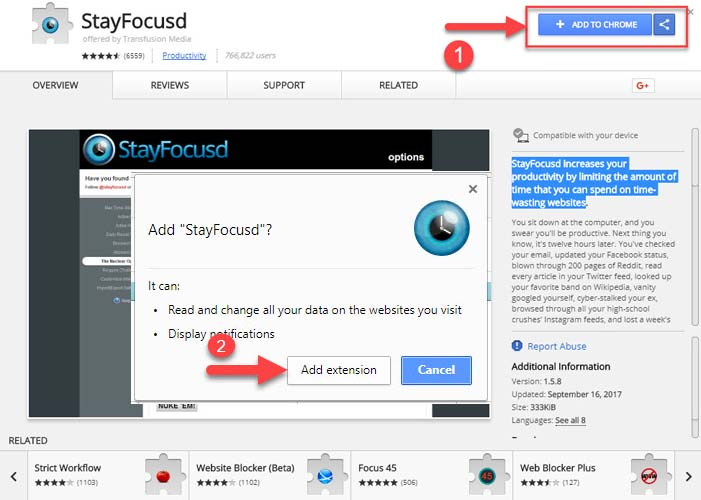 how to block a website on chrome using StayFocusd