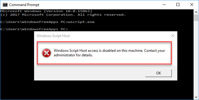 Windows Script Host access is disabled on this machine on Windows 10