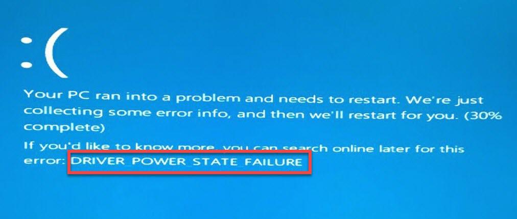 Driver power state failure windows10.