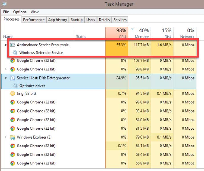 Antimalware Service Executable High CPU Usage in Windows 10