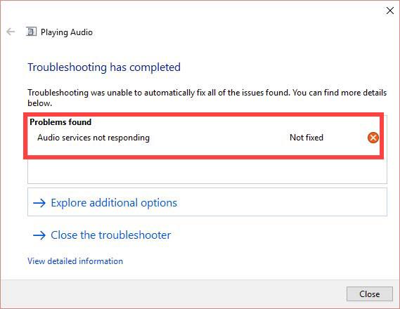 Audio Services Not Responding on Windows 10