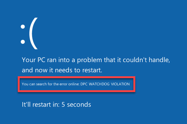 DPC Watchdog Violation Error in Windows 10/8