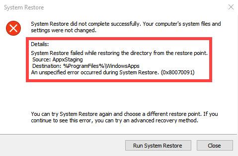 System Restore Error 0x80070091 in Windows 10