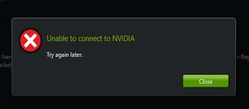 Unable to connect to NVIDIA. Try again later