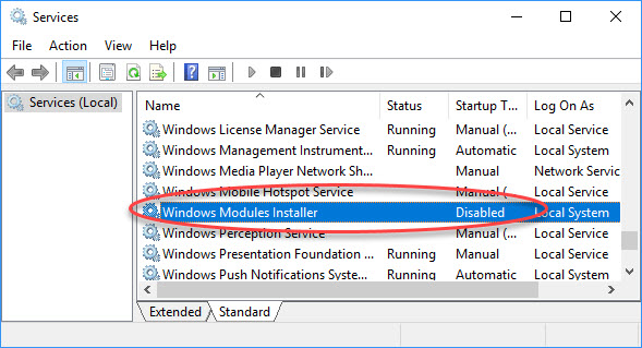 Windows Modules Installer