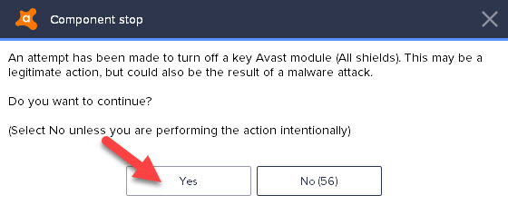 disable turn off avast 2018 warning