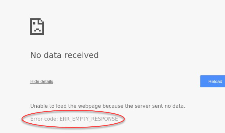 ERR_EMPTY_RESPONSE Error On Google Chrome