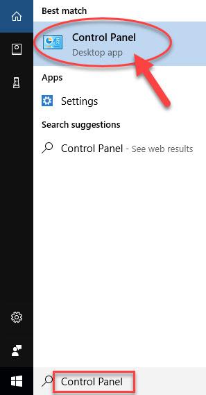 open Control Panel in Windows 10
