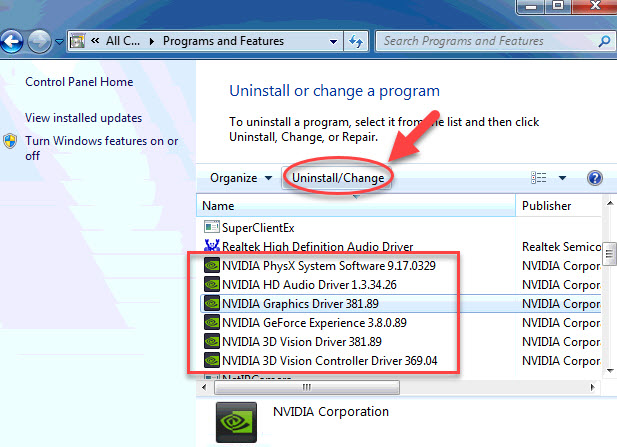 uninstall NVIDIA display drivers