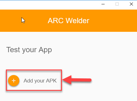 Click Add APK in ARC Welder