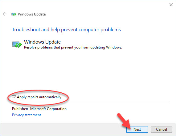 Run Windows Update Troubleshooter - 1