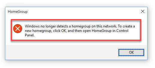 Windows no longer detects a homework on this network