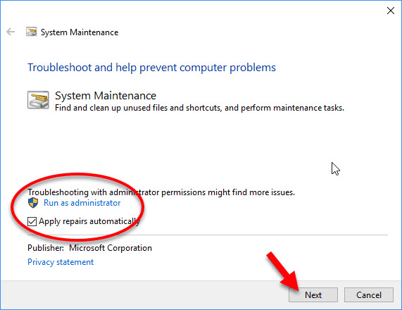 run System Maintenance troubleshooter