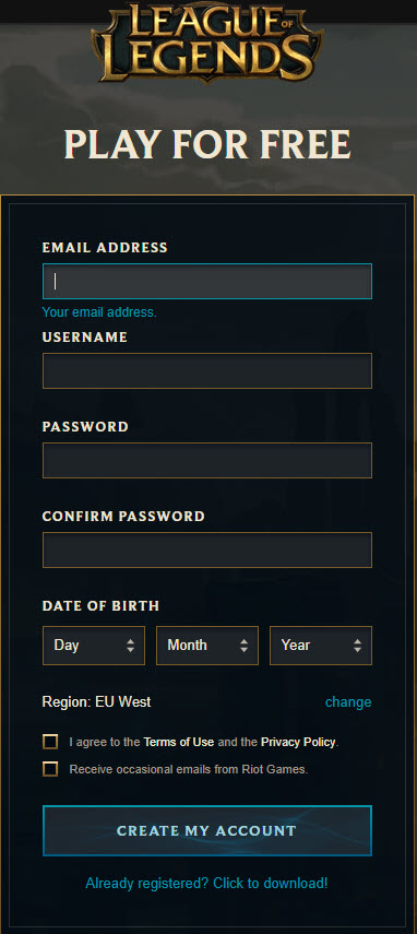 Sign up and play League of Legends