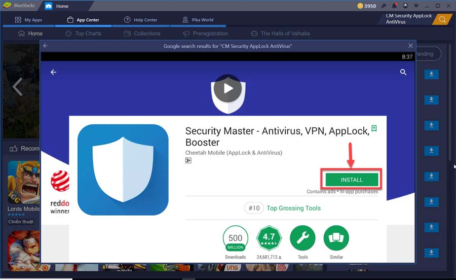 Install CM Security for PC From Google Play store