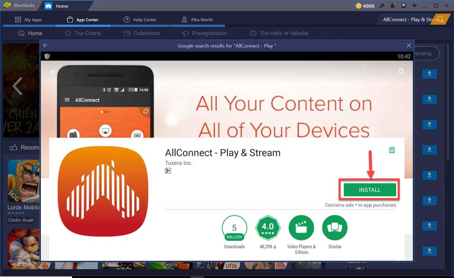 Install AllConnect - Play & Stream for PC from Google Play store