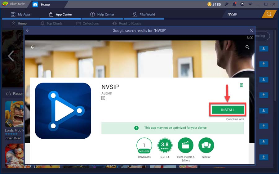 Download and install NVSIP for PC from Google Play store