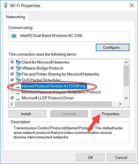 WiFi Properties Internet Protocol Version 4