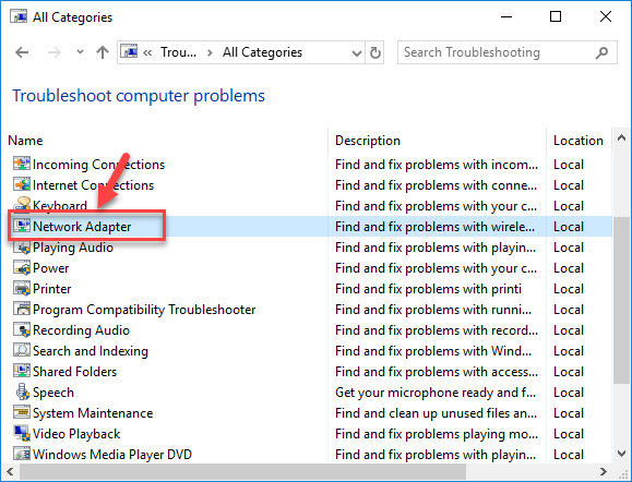 Run Network Adapter Troubleshooter