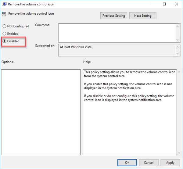 Enable The Missing Volume Icon Via Group Policy