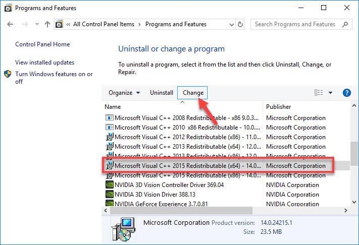Microsoft Visual C++ 2015 Redistributable (x64)