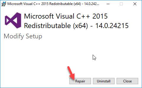 Repair installed Visual C++ 2015 Redistributable package