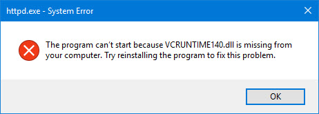 The program can't start because VCRUNTIME140.DLL is missing from your computer