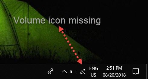 Volume icon missing Windows 10