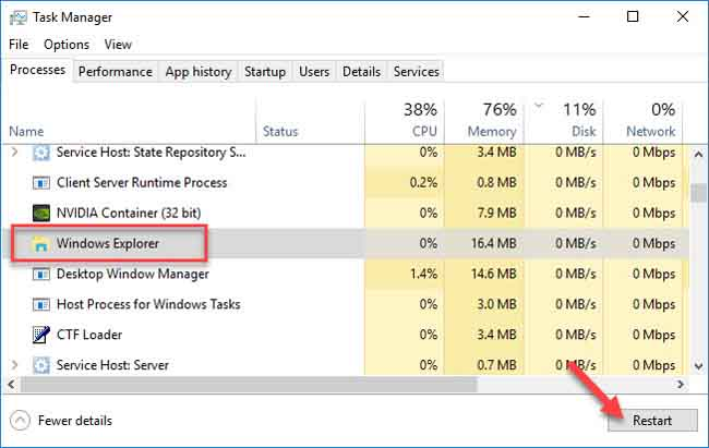 How To Restart Explorer from Task Manager