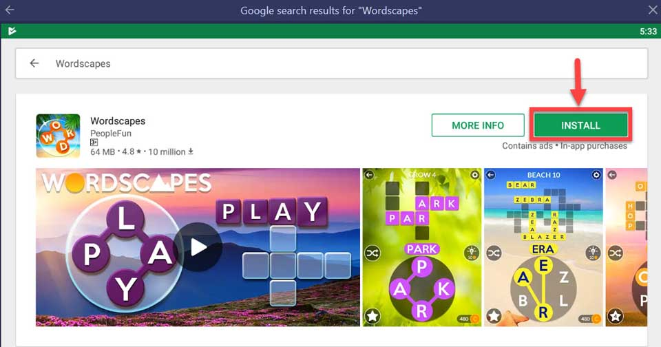 Wordscapes For PC/Laptop (Windows 10/8/7 and Mac OS) Free Download