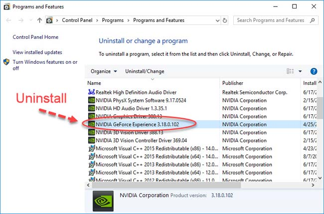 Uninstall Nvidia GeForce Experience