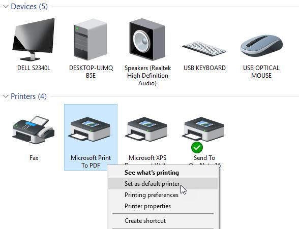 Set the Microsoft Print to PDF as the Default Printer