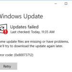 Windows 10 Update Problem Error Code: (0x80073712)