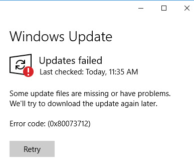 Windows 10 Update Problem Error Code: (0x80073712)