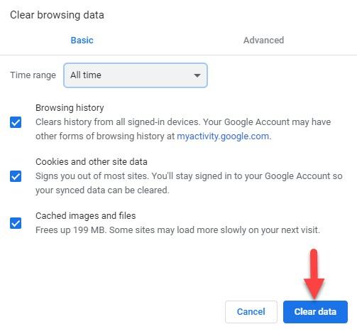 Clear Chrome Browser Data