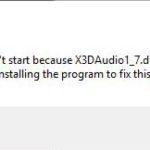 Fix x3daudio1_7.dll Is Missing In Windows 10