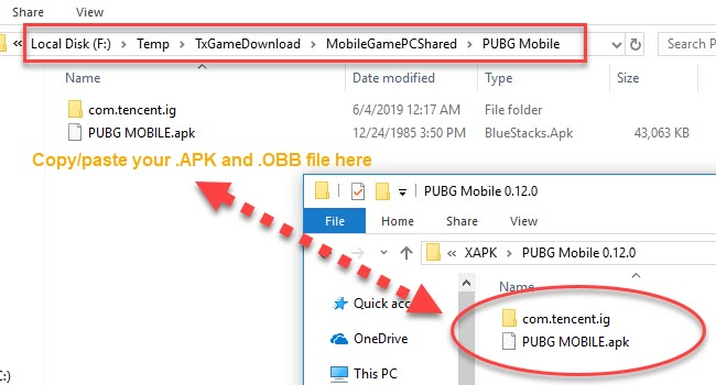 import .APK and .OBB file to the Tencent Gaming Buddy PC Shared directory