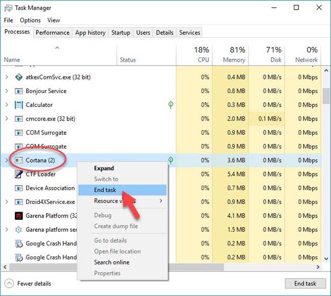 Restart Cortana process