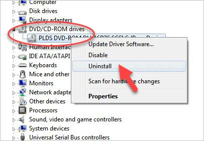 uninstall CD/DVD driver